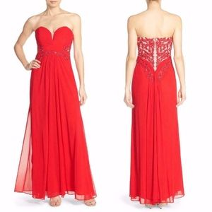 Xscape RED Strapless EMBELLISHED Beaded MESH GOWN
